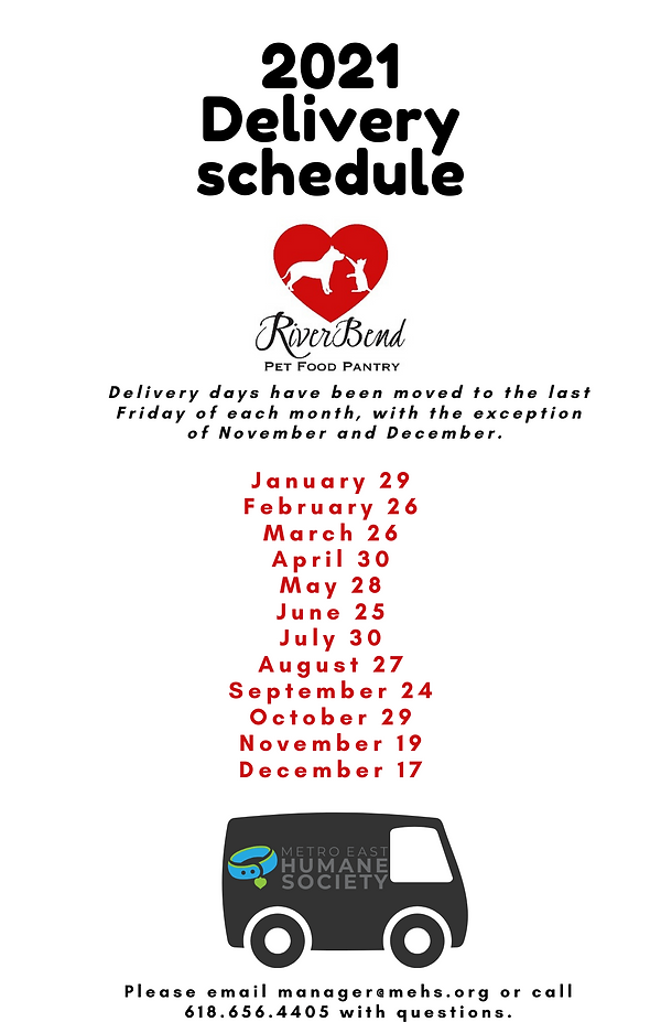 2021 Riverbend Pet Food Pantry Schedule.