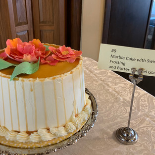 #9 Marble Cake with Swiss Meringue Frosting and Butter Caramel Glaze