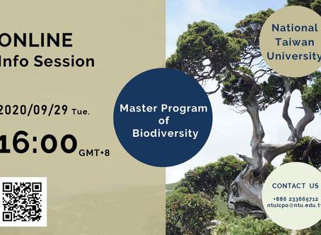 【20200929 Online Info Session】National Taiwan University_Master Program of Biodiversity