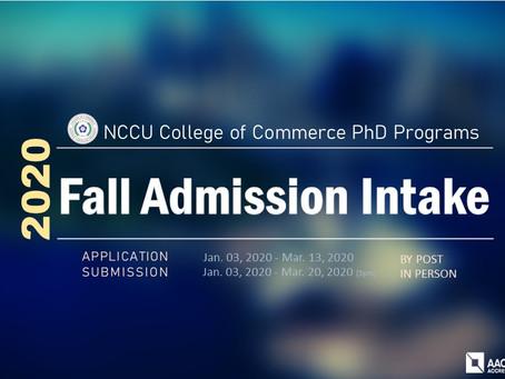 國立政治大學商學院博士學程 NCCU's College of Commerce PhD Programs Admission!