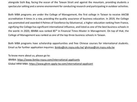 International MBA Programs at National Sun Yat-sen University are open for application!