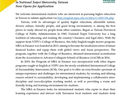 Master Program of Business Administration in Finance in National Taipei University, Taiwan