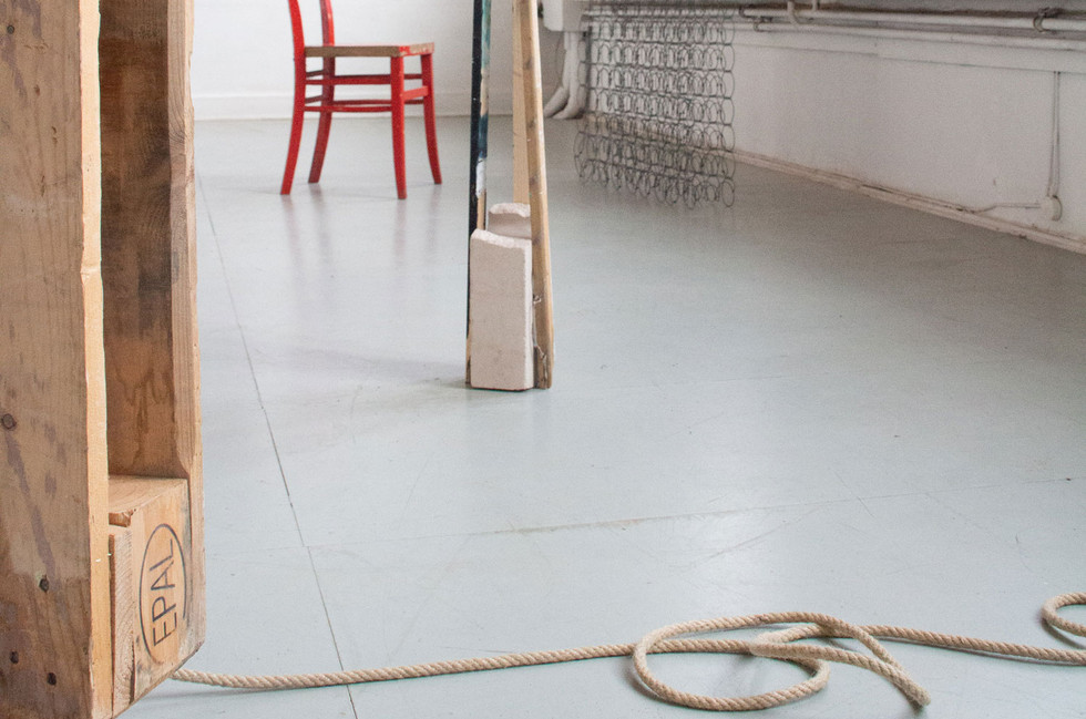 Palette, Wheels and Rope, Mattress and Red Chair & Brick and Sticks (detail)