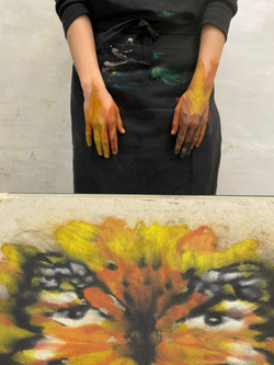 hands on fire / acrylic on raw linen can