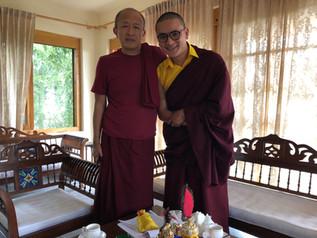 Dzongsar Khyentse Rinpoche welcomes Yangsi Rinpoche in Chauntra (Bir) India