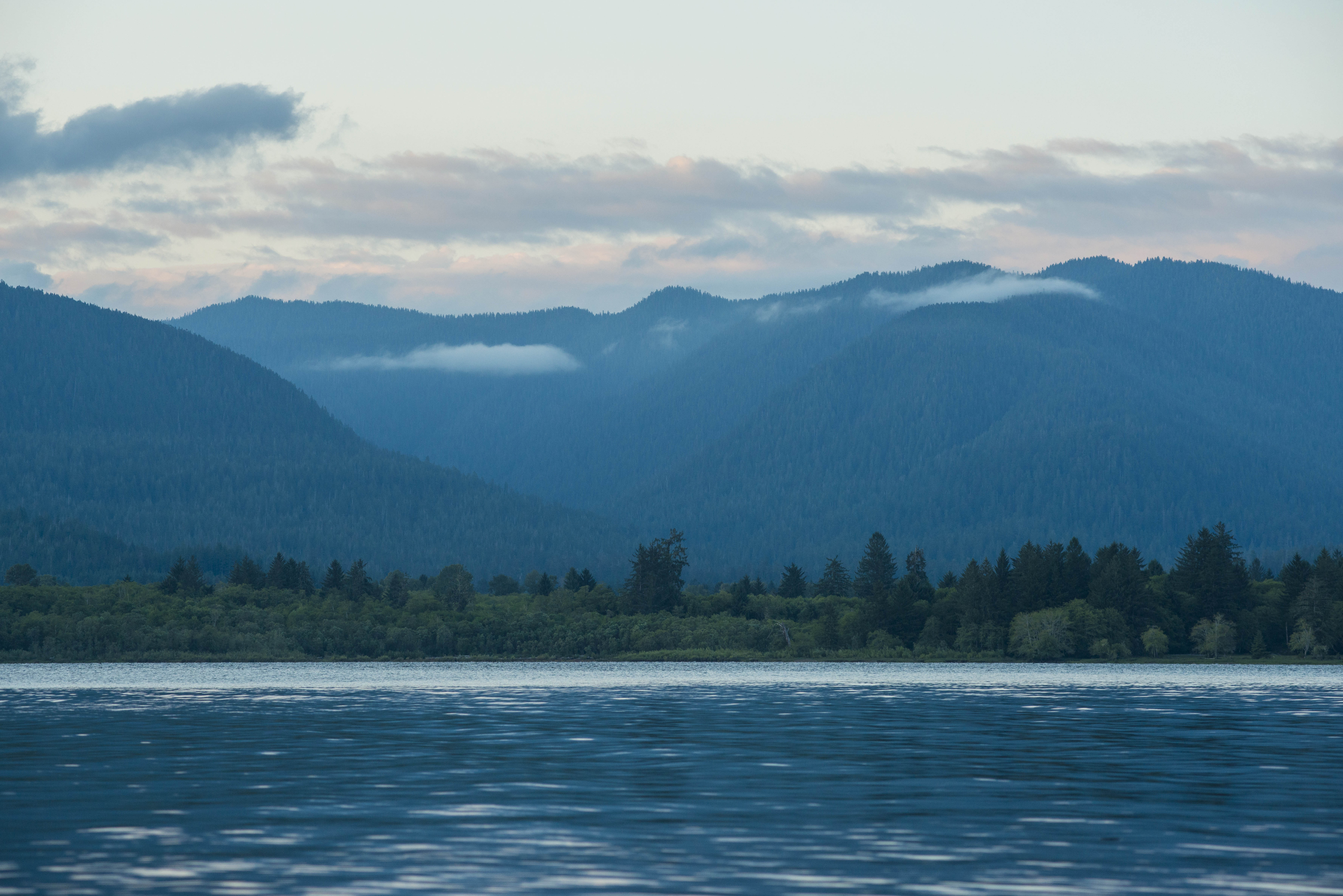 Olympic lake with mountains