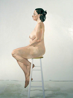 Nude on Stool in Profile