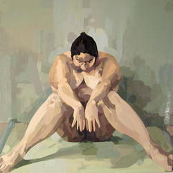 Nude Seated on Rug (in V)