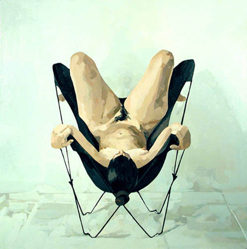 Nude Upside Down in Butterfly Chair