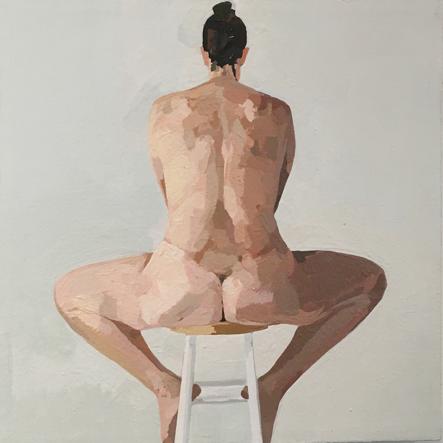 Nude on Stool from Back