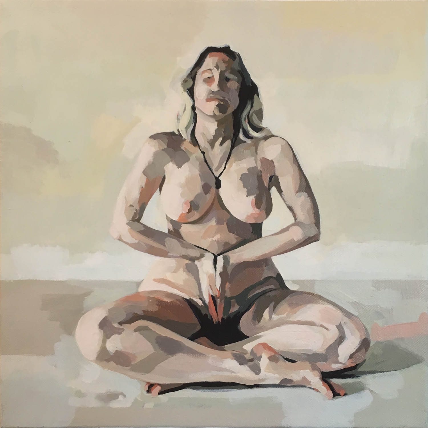 Nude Seated with Palms Together
