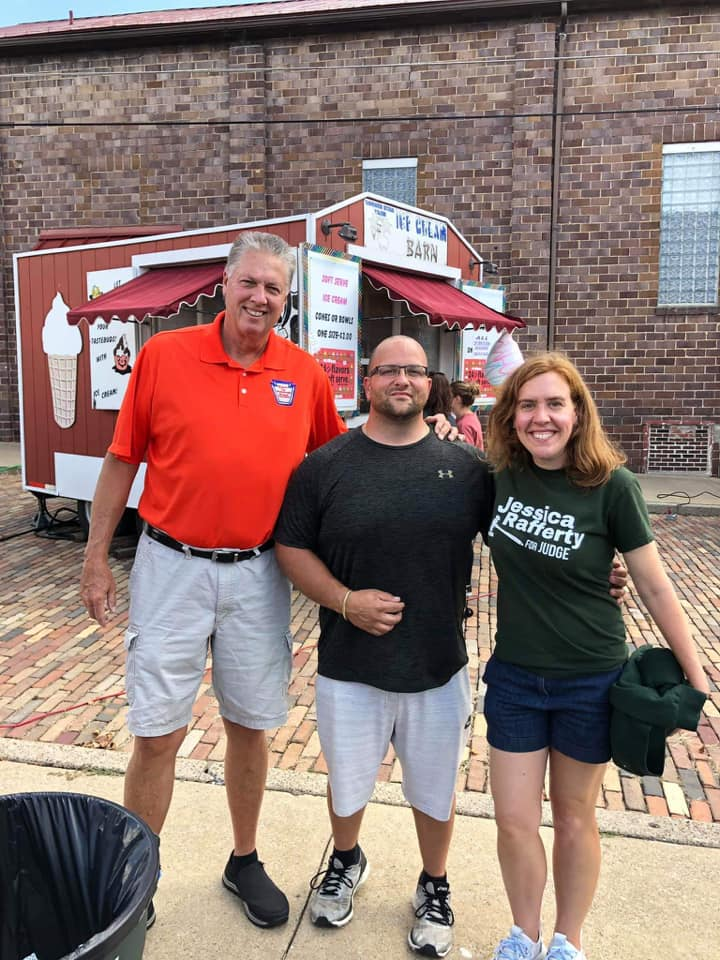 Tay with voters at food truck