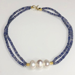 Iolite w pearl floaters