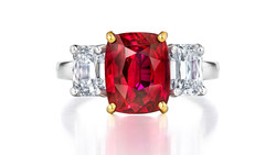 Gold, platinum, unheated ruby, dia