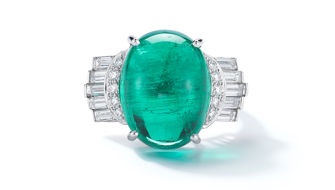 Cabochon emerald, diamonds, platinum