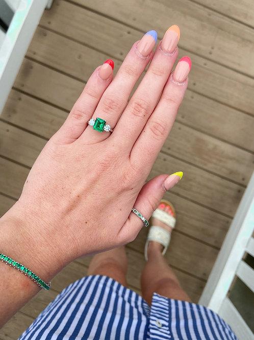Three Stone Diamond and Emerald Ring