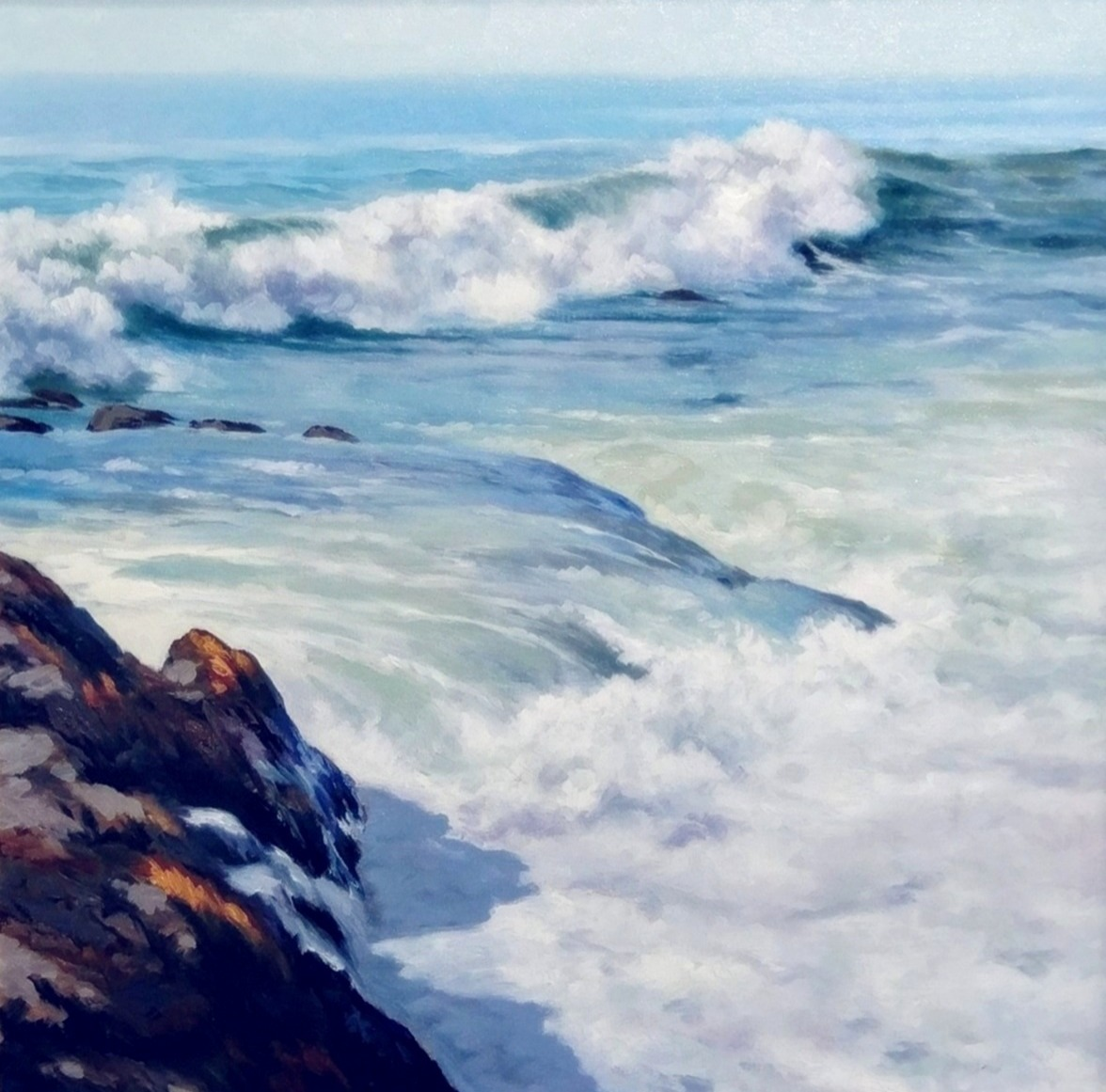 H Bartlett - Newport Waves, oil on linen