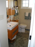 Floating Vanity, Maple Cabinets, Tile Flooring