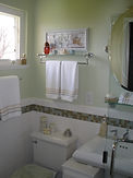 Glass Tile, Pedestal Sink