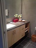 Maple Vanity, Tile Floor, Modern Bathroom, Custom Vanity, Corian Vanity, Floating Vanity, Recessed Medicine Cabinet