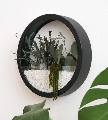 Кашпо Black Plants Bag L с зелёной композицией
