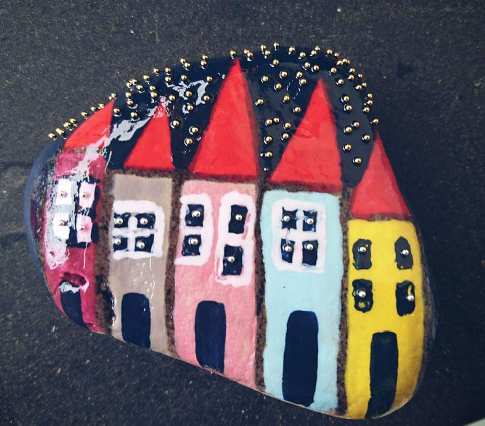 Handpainted beach stone  - Photo credit Mary Samou