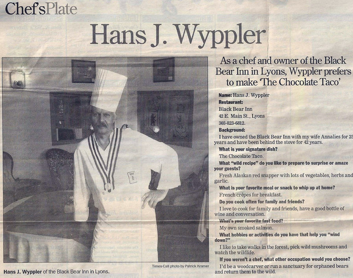 Chef Hans is famous for his Chocolate Taco
