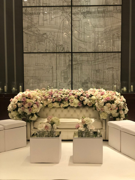 Selfie Floral sofa for a very special engagement party at The Corinthia