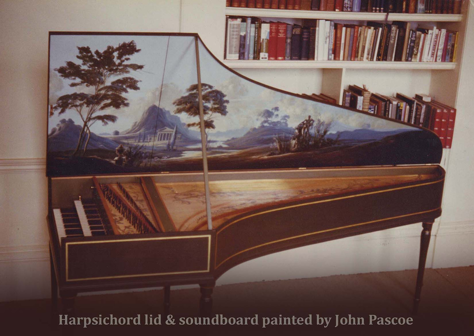 A NEO CLASSICAL VISTA.  This was another of COLIN BOOTH'S marvellous harpsichords. The vista I painted under the lid was inspired by the paintings of Nicolas Pousin.