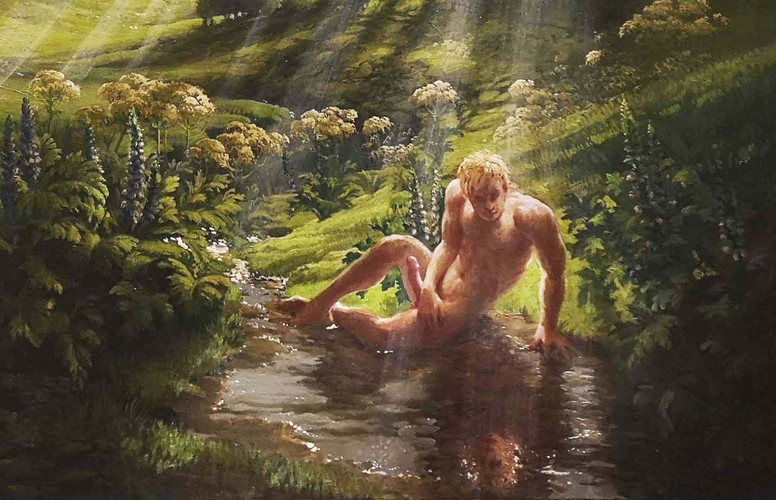 "DETAIL:  ""NARCISSUS"" 5,500 EU Olio sul lino 100cm by 60cm  Alone in a dark corner,  Narcissus gazes at himself in erotic ecstasy while ignoring the beauty of the entire world behind him. Around him stand Acanthus' phallic spires & erect Cypress trees as all of nature joins in a celebration of God-given fertility.  Rays of life giving sunlight fall uselessly on him, while his fecund energies cascade into the very water of life, never to fertilise, never to reproduce."