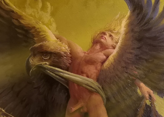 Zeus, the king of all the gods, in love with Ganymede, flies down to earth to take him up to Olympus.