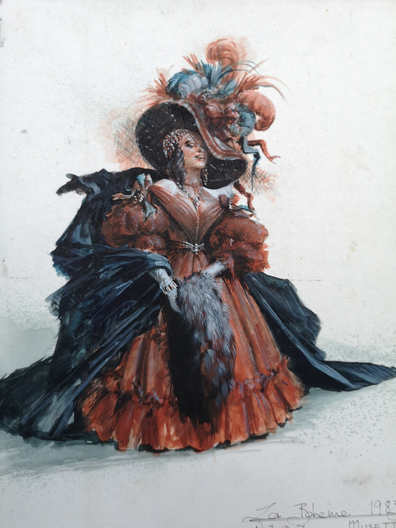 """""""MUSETTA"""" La Boheme 1983 I was invited by Patric Schmid of Opera Rara to make my debut as stage director & designer, both sets and costumes. It was staged on the 100 annirversary of the opera composition so I invoked that world."""