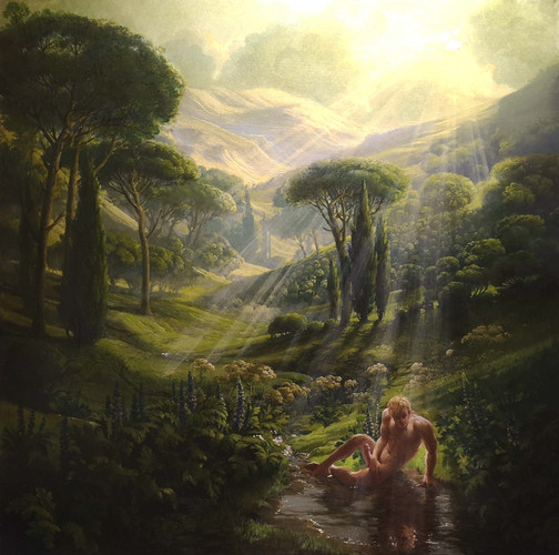 """NARCISSUS"" 5,500 EU Oil on linen 100 by 60cm  Alone in a dark corner,  Narcissus gazes at himself in erotic ecstasy while ignoring the beauty of the entire world behind him. Around him stand Acanthus' phallic spires & erect Cypress trees as all of nature joins in a celebration of God-given fertility.  Rays of life giving sunlight fall uselessly on him, while his fecund energies cascade into the very water of life, never to fertilise, never to reproduce."