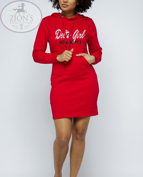 DELTA GIRL HOODED SWEATSHIRT DRESS