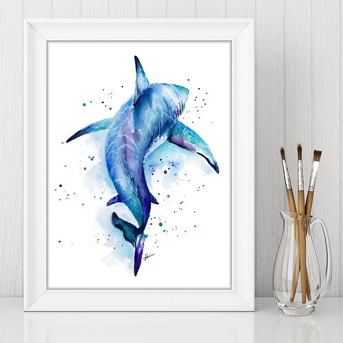 Shark - Colorful Watercolor Print