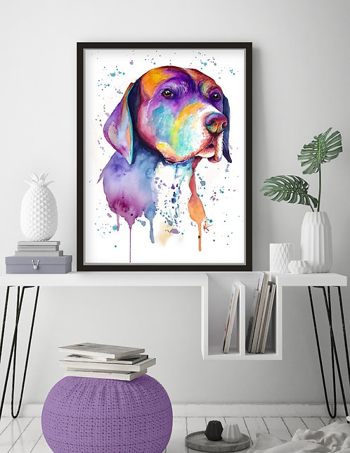 German Shorthaired Pointer - Colorful Watercolor Print