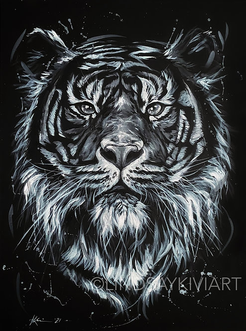 """The Big Cat"" 18x24 Acrylic on Canvas **FLOATER FRAME INCLUDED"