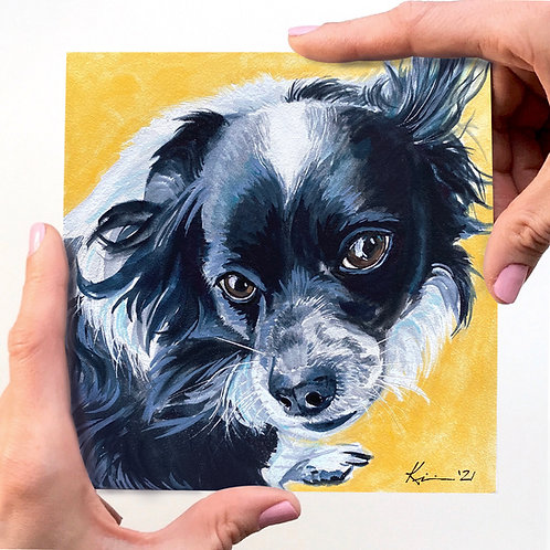 MINI Watercolor Pet Portrait on a Clayboard Wood Panel **FRAME NOT INCLUDED
