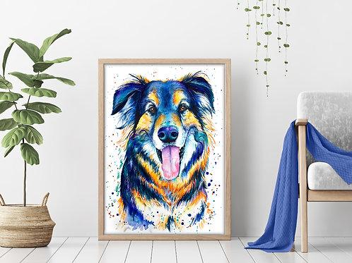 Shepherd - Colorful Watercolor Print