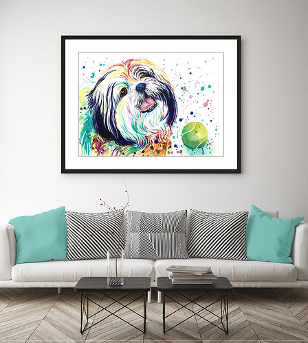 Pekingese | Shih Tzu Mix - Colorful Watercolor Print
