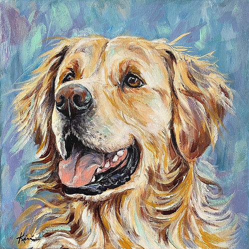 """Golden Retriever"" Print on Unstretched Canvas"