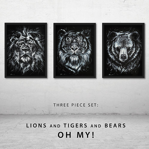 """Lions And Tigers And Bears"" Three Piece Set of Art Prints"