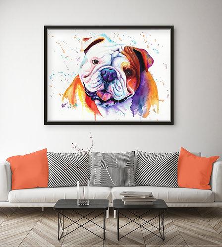 English Bulldog - Colorful Watercolor Print