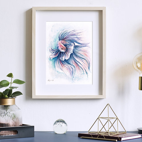 Dancing Betta - 8x10 Original Colorful Watercolor **Unframed