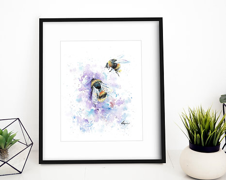 Bumblebee - Colorful Watercolor Print