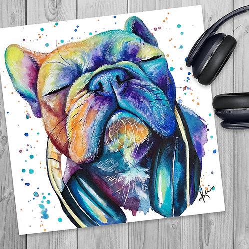 French Bulldog and Headphones- Colorful Watercolor Print