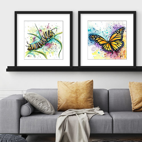 Monarch Caterpillar/Butterfly - Colorful Watercolor Print