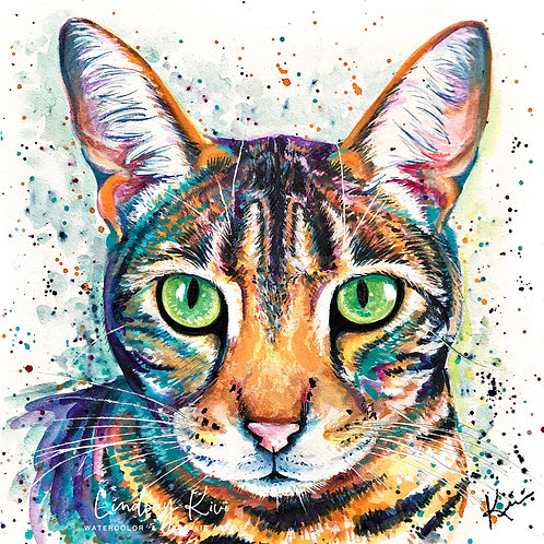 Tabby - Colorful Watercolor Print