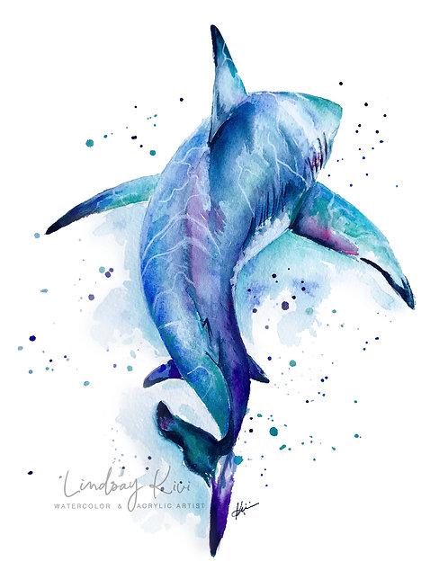 Shark - 8x10 Original Colorful Watercolor **Unframed