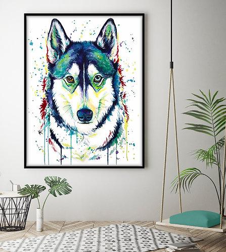 Siberian Husky - Colorful Watercolor Print